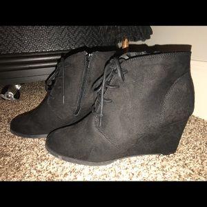 Black wedge ankle booties